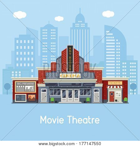 Modern cinema building facade with sign boards and ticket office on downtown background. Movie theater exterior vector illustration. Web banner with city culture and entertainment landmark.
