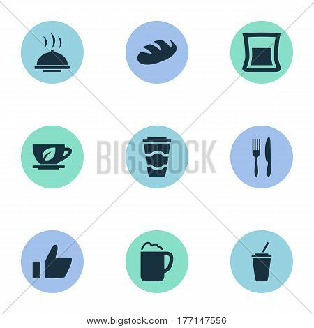 Vector Illustration Set Of Simple Cafe Icons. Elements Food Tray, Espresso, Coffee And Other Synonyms Coffee, Favorite And Utensil.