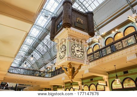 vintage clock and interiors design in the Queen Victoria Building taken in Sydney Australia on 7 July 2016