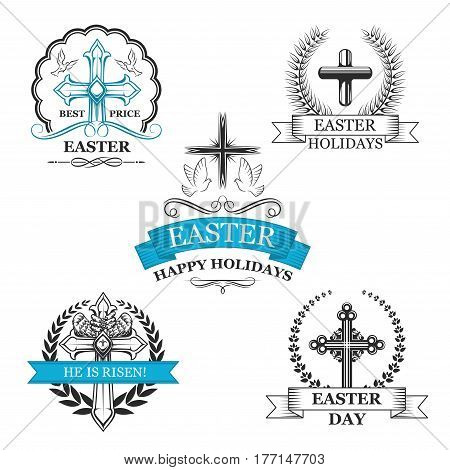 Easter Day holy cross badge set. Christian religion crucifix sign with flying dove bird, framed by laurel wreath and ribbon banner with text Happy Easter Holidays and He Is Risen