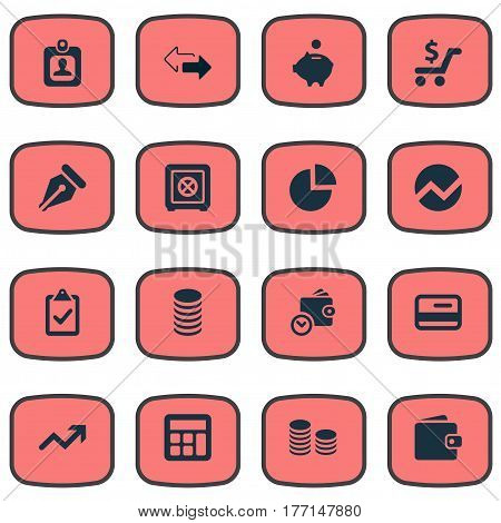Vector Illustration Set Of Simple Finance Icons. Elements Two Directions, Statistic, Earnings And Other Synonyms Growth, Segmentation And Interest.