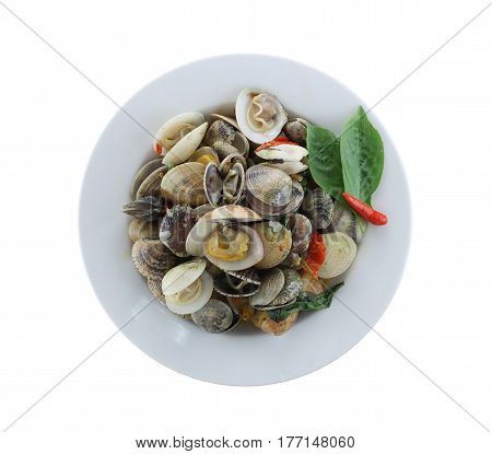 sea clams or RIDGED VENUS CLAM of Stir sauce in white dish isolated on white background and have clipping paths to easy deployment.