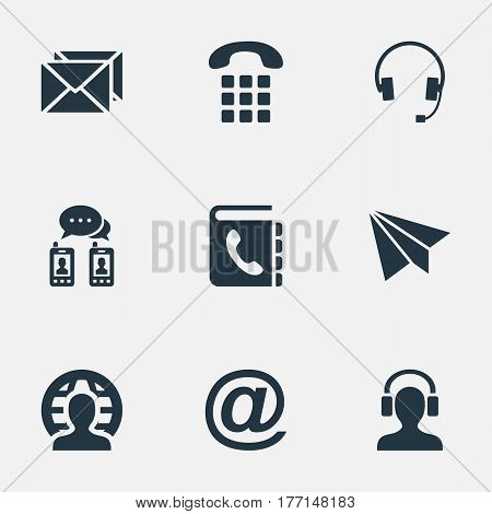 Vector Illustration Set Of Simple Connect Icons. Elements Earphone, Correspondence, Earpiece And Other Synonyms E-Mail, Headphones And Global.
