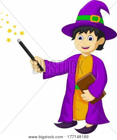funny witch cartoon holding book and magic stick