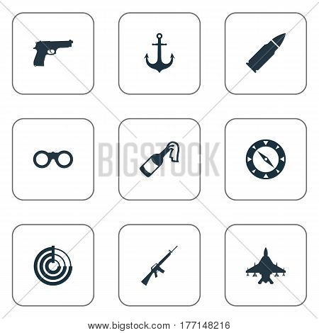 Vector Illustration Set Of Simple War Icons. Elements Radio Locator, Field Glasses, Molotov And Other Synonyms Ship, Magnet And Binoculars.