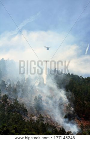 Chinook Firefighting Helicopter Drops Water on a Forest Fire in the Mountains