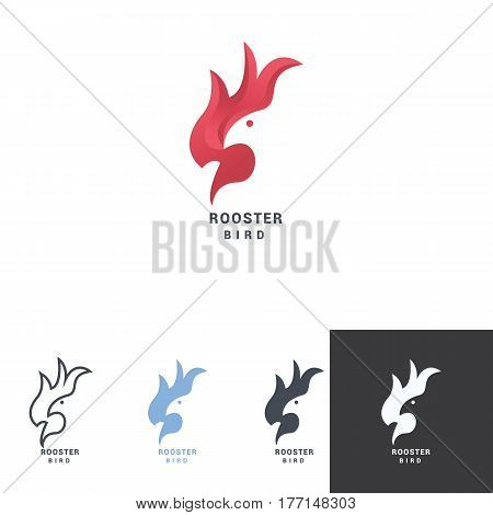 Rooster negative space logo with bird head, fancy red color