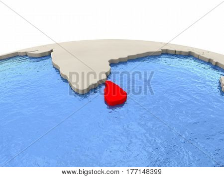 Sri Lanka On Globe With Watery Seas