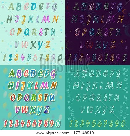 Watercolor and drawing artistic font. Unusual alphabet with watercolour and drawing effects. Colorful space font. illustration.
