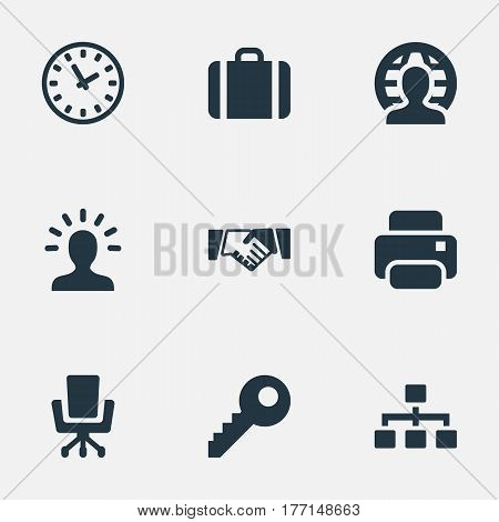 Vector Illustration Set Of Simple Trade Icons. Elements Relationship, Member, Clock And Other Synonyms Password, Profile And Partnership.