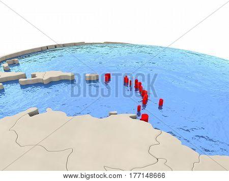 Caribbean On Globe With Watery Seas
