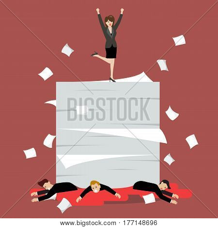 Business woman standing over a lot of documents and her enemy. Vector Illustration