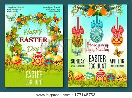 Easter Egg Hunt poster template. Easter eggs hidden in green grass banners, adorned by floral wreath of lily and tulip flowers with ribbon, bow, butterfly. Easter Sunday celebration invitation design