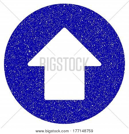Grunge Up Arrow rubber seal stamp watermark. Icon symbol with grunge design and unclean texture. Unclean vector blue sticker.