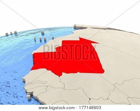 Mauritania On Globe With Watery Seas