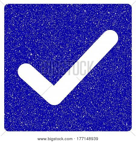 Grunge Valid Tick rubber seal stamp watermark. Icon symbol with grunge design and unclean texture. Unclean vector blue sticker.