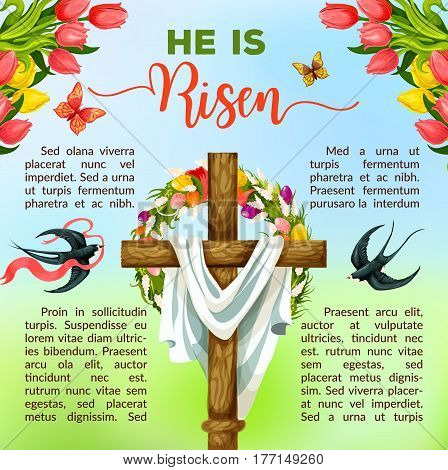 Easter cross with spring flowers festive poster template. Religious cross with floral wreath of Easter egg and tulip flower with flying swallow birds and butterflies, supplemented by text layouts