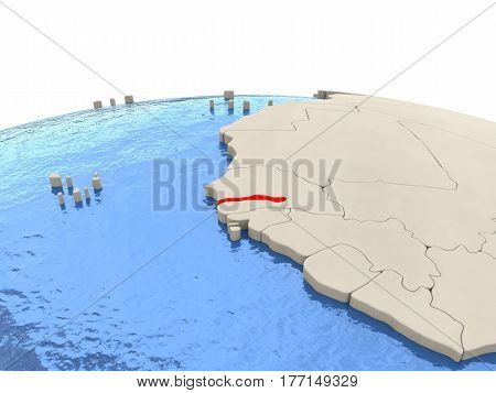 Gambia On Globe With Watery Seas