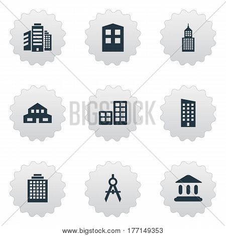 Vector Illustration Set Of Simple Structure Icons. Elements Engineer Tool, Superstructure, Flat And Other Synonyms Offices, Realty And Architecture.