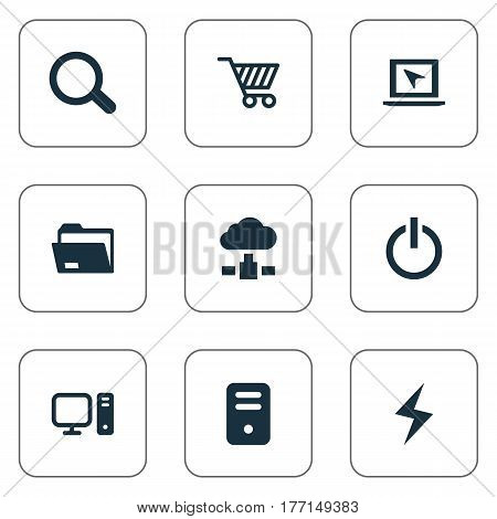 Vector Illustration Set Of Simple Computer Icons. Elements Web Trading, Dossier, Memory And Other Synonyms Bolt, Unit And Memory.