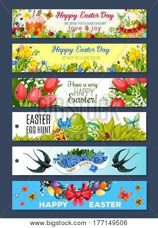 Easter gift tag set. Easter holiday egg hunt basket with egg and cake in green grass with flower of tulip, lily and narcissus, floral wreath of willow twigs with ribbon bow, swallow bird and butterfly