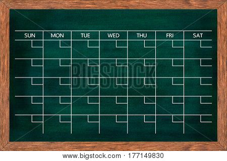 Chalkboard calendar for home or office organization Blackboard monthly scheduling planner Texture for add date and text or graphic design. (Clipping path included)