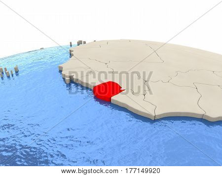 Sierra Leone On Globe With Watery Seas