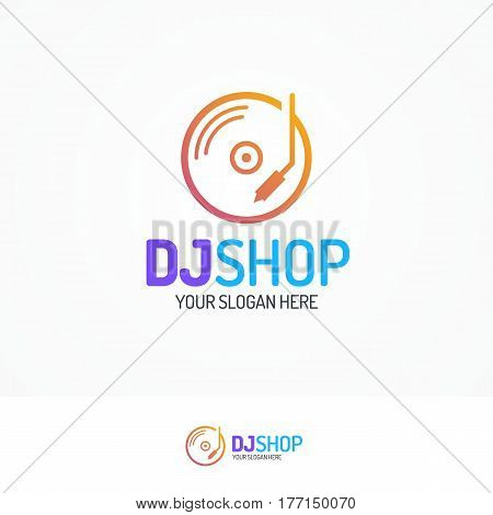 Dj shop logo set with disk icon line modern color style isolated on white background for use music store, sound company, audio system shop, dj market etc. Vector Illustration