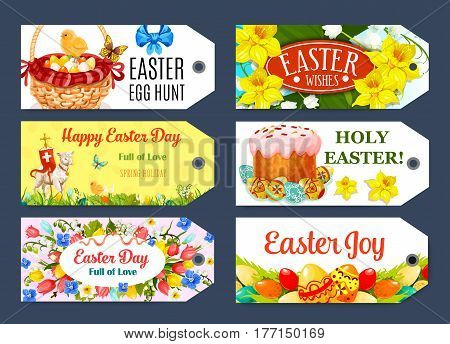 Easter Egg Hunt gift tag set. Painted Easter egg, cake, spring floral wreath of tulip, narcissus and lily flower, egg hunt basket, chicken chick, cross, lamb of God cartoon labels with greeting wishes