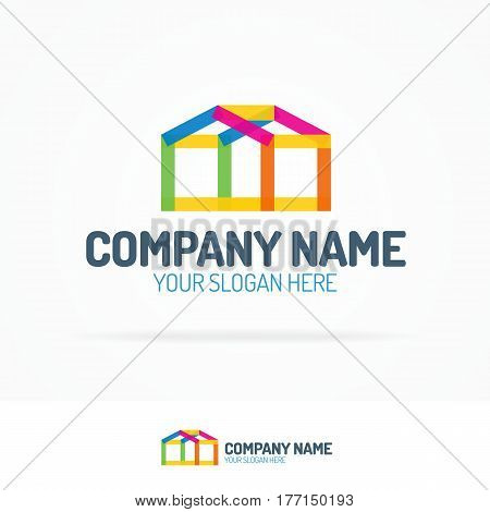 House logo set flat color style for use real estate, design, architect, construction, home repair and paint, building etc. Vector Illustration