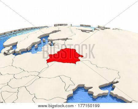 Belarus On Globe With Watery Seas