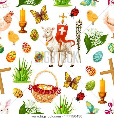 Easter seamless pattern of paschal eggs, flowers lily, tulip and willows, passover God lamb, crucifix crosses with candles and hen chicken chicks. Happy Easter religion holiday vector design