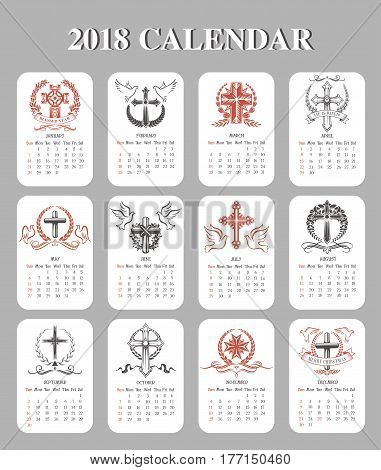 Calendar 2018 Easter design template of paschal crucifix cross symbols. Vector icons of Happy Easter greeting text He is risen, Be blessed and religion holiday doves, ribbons and floral wreath