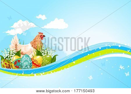 Happy Easter greeting card. Symbol of paschal eggs and hen chick in sprig flowers bunch of valley lily, tulips and butterflies in sky. Vector Easter holiday or Resurrection Sunday religion celebration
