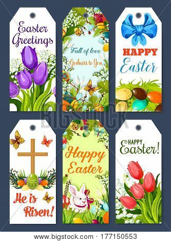 Easter greeting tag and holiday gift label set. Easter egg, egg hunt rabbit bunny, spring flower of tulip and lily, Easter cross, floral wreath with ribbon bow, butterfly and willow twig cartoon cards