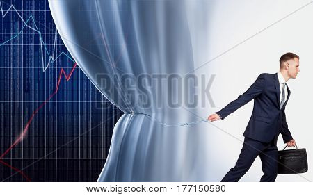 Businessman revealing the secrets of financial success. He pulls back the curtain, which hides the graphs showing the growth of production efficiency.