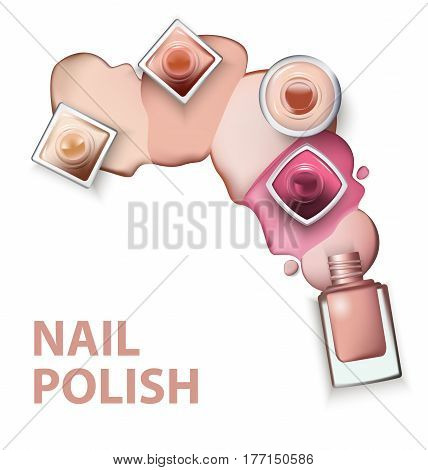 Close up of nail polish with drops of nail polish light pastel shades on white background. Perfect for advertising banners booklet magazines. Vector template