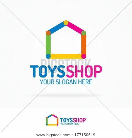 Toys shop logo set flat color style for use kids store, baby market etc. Vector Illustration
