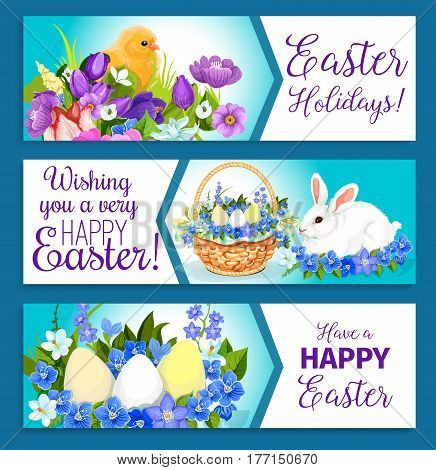 Easter Holiday paschal hunt eggs, bunny and chicks in wicker basket. Happy Easter banners design of spring flowers crocuses, daffodils and tulips or willows for springtime religion greetings