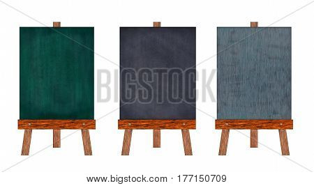 Collection of vertical chalkboard Isolated on white background Memo board or menu and message board stand Template mock up for adding your design and adding more text. (Clipping path included)