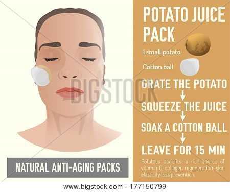 Beautiful woman with a handmade potato face-pack during the cosmetological procedure. Vector illustration in beige colours isolated on a light background. Cosmetic treatment recipe.