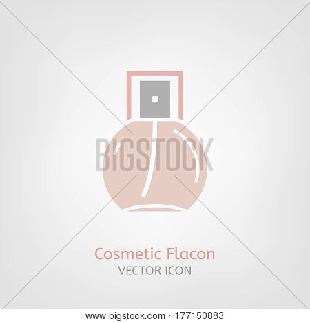 Cosmetic flacon Icon image in light pink and grey colours. Beautiful vector illustration in flat modern style isolated on a white background.
