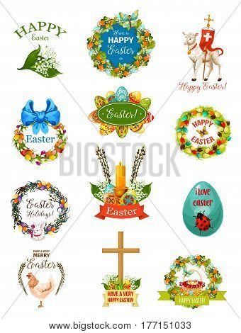 Easter cartoon label and badge set. Easter egg floral wreath of spring flowers with rabbit bunny, egg hunt basket, chicken, chick, Easter lamb, cross, ribbon, bow, butterfly and willow tree twigs