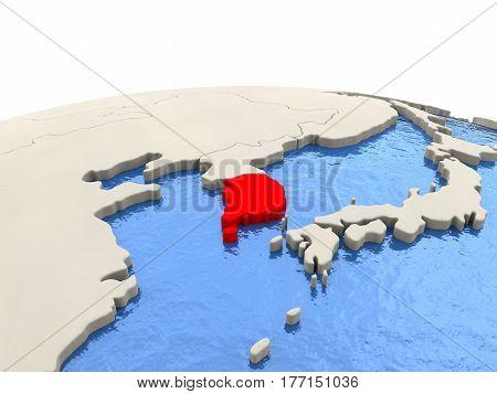 South Korea On Globe With Watery Seas