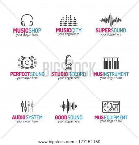 Music shop logo set with different icons modern color style isolated on white background for use music store, sound company, audio system shop, equipment market, dj etc. Vector Illustration