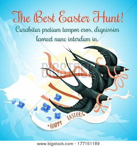 Easter Egg Hunt celebration cartoon poster with spring birds. Swallow bird with Happy Easter ribbon banner flying in the blue sky. Easter holiday greeting card design
