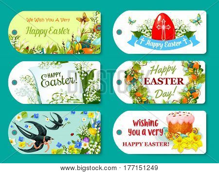Easter greeting tag and label set. Easter egg, cake and floral wreath, lily, tulip and narcissus flowers, swallow bird and butterfly, ribbon banner and paper greeting card with wishes of Happy Easter