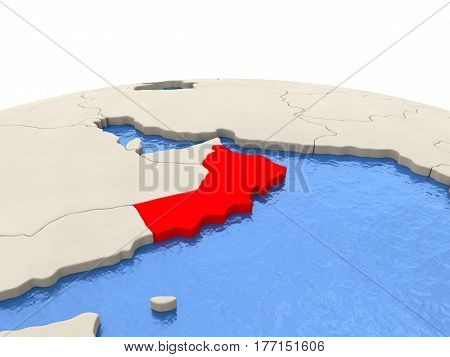 Oman On Globe With Watery Seas