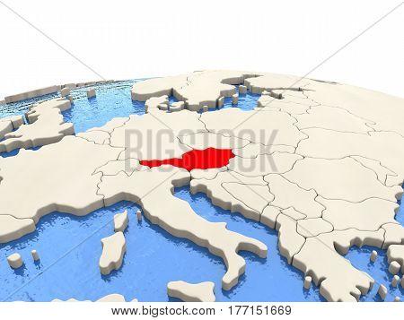 Austria On Globe With Watery Seas