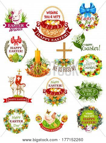 Easter holiday label and symbol set. Easter egg, rabbit bunny, spring flower of lily and tulip, egg hunt basket, chicken, floral wreath with bow, chick, Easter lamb, cross, candle with ribbon banner
